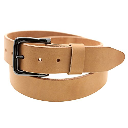 Orion Leather 1/2 Natural Tan Harness Leather Belt Raw Edge Made In USA Size 38 - Edge Leather Belt