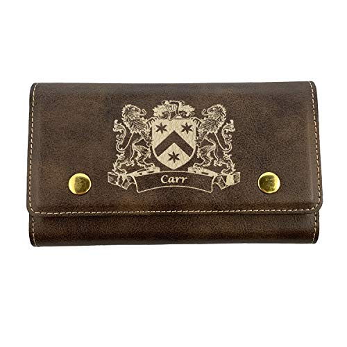 (Carr Irish Coat of Arms Leather Card & Dice Set)