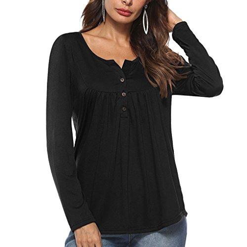 Couleur d't Avant Solide T Bouton noir Longues Manches Femmes Fille Automne Masterein Tops Shirt 4f78x