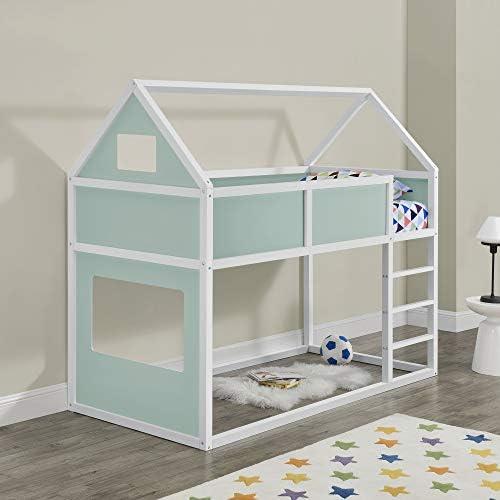 Litera para niños con Escalera 200 x 90 cm Cama para niños de Madera Pino Cama Infantil Forma de casa Blanco y Rosa: Amazon.es: Hogar