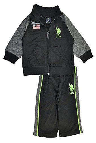 U.S. Polo Assn. Little Boys' Hooded Fleece Vest Pant and Jersey Hangdown,Neon Green-IKPKK,12M
