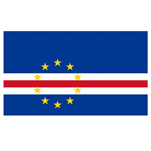 (Cabo Verdean Flag Reflective Decal - Flag of Cape Verde - Five Inch Wide Full Color Decal, for Indoor or Outdoor Use - Full Color Decal On 3M Reflective Material)