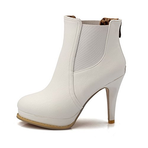 Zipper PU Closed White Heels Women's Boots Toe Round High Allhqfashion Solid w80PI