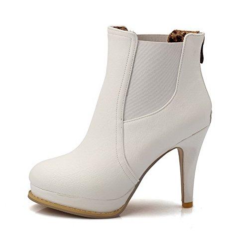 PU Heels Solid Zipper Allhqfashion Boots White Closed Toe High Women's Round qpfxag0w