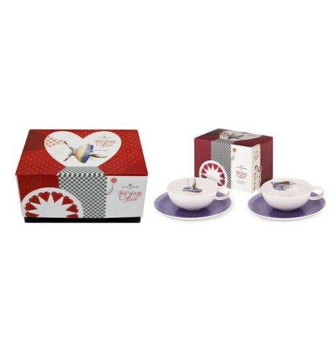 Vista Alegre Porcelain Tea With Alice Set 2 Teacups and Saucers and Tea Package