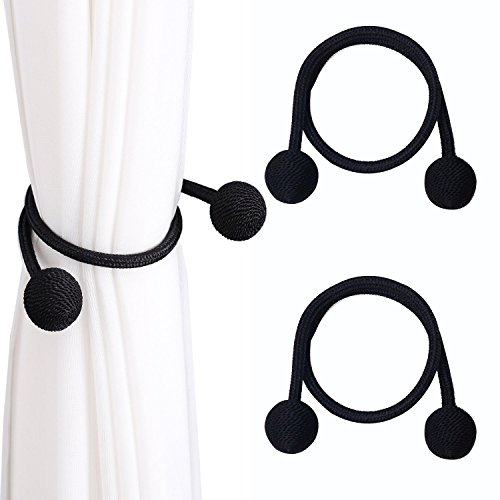 DEZENE Random Modeling Curtain Tie-backs,Convenient Drapery Rope Clips,Decorative Holdbacks Holder for Window Voile and Blackout Panels,Set of 2 Pieces,Black (Decorative Holdback)