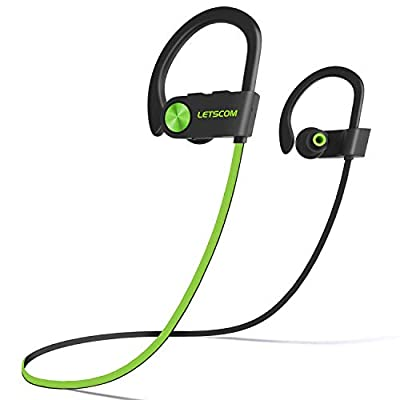 LETSCOM Bluetooth Headphones IPX7 Waterproof, Wireless Sport Earphones, HiFi Bass Stereo Sweatproof Earbuds w/Mic, Noise…