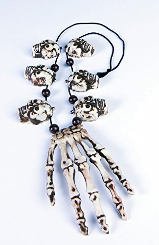 Forum Novelties Unisex-Adults Voodoo Necklace-Hand/Skull, White,