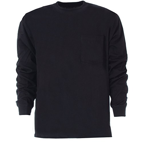 Berne Apparel BSM23 Men's Heavyweight Pocket Tee L/S Navy 5X-Large ()