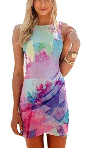 Women's Sleeveless Pink Floral Print Irregular Hem Short Bodycon Dress -