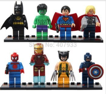 Super Heroes The Avengers 8pcs/lot Iron Man Hulk Batman Thor Building Blocks Sets Minifigure Bricks Toys