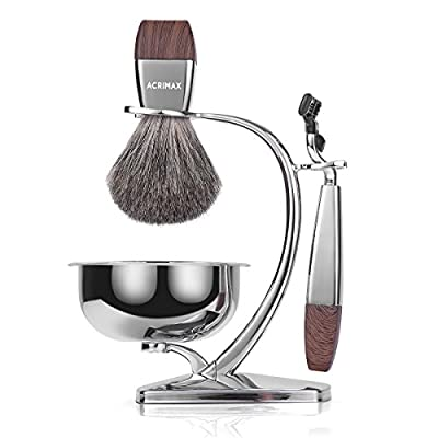 Best Cheap Deal for ACRIMAX Premium Badger Hair Shaving Brush Set with Luxury Brush Stand and Brush holder for Soap Bowl and Manual MACH3 Razor Gift Kits for Men from ACRIMAX - Free 2 Day Shipping Available