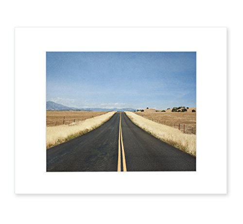 Open Road Highway Landscape Wall Art, 8x10 Matted Print, 'American Road Trip'
