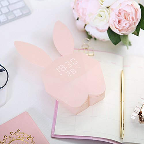 Zehui Student Table Light with Music Thermometer Decoration Gift for Christmas Halloween Birthday Creative Multiple Function Magnetic Rechargeable Bunny Alarm Clock Night Lamp Wall Lamp Pink -
