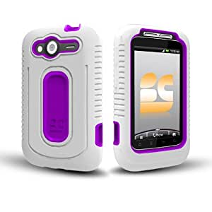 Geo Pill Dual Layer Cover for HTC Wildfire S (T-Mobile USA), White/Fushia
