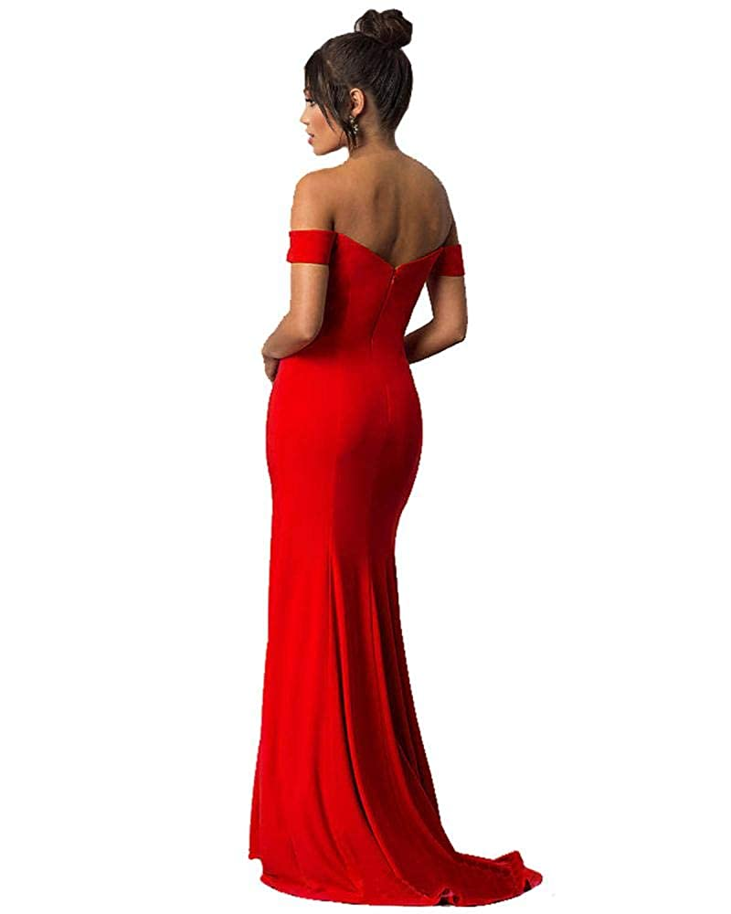 a246e1dee8ff Lily Wedding Womens Off Shoulder Prom Dresses 2018 Long Mermaid Formal  Evening Ball Gowns with Slit GD45 Size 12 Burgundy at Amazon Women's  Clothing store: