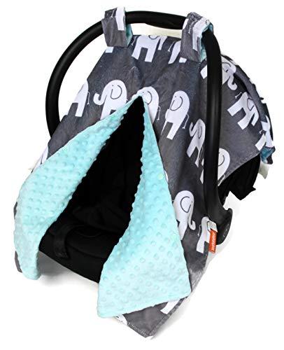 Dear Baby Gear Deluxe Car Seat Canopy, Custom Minky Print White Elephants, Opal Blue Minky Dot ()