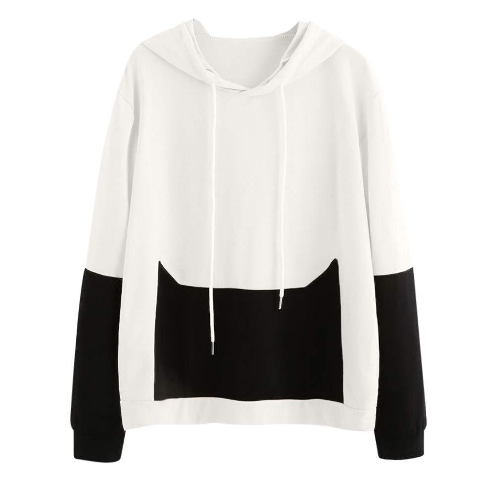 Opeer Hoodie Women Casual Cat Long Sleeve Sweatshirt Hooded Pullover Tops Blouse (M, White)