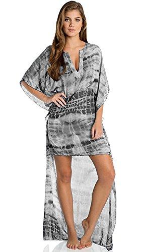 Elan International Kaftan Hi/Low 3/4 Sleeve V-Neck Black Cover Up, Large