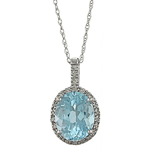 Instagems 10k White Gold Oval Blue Topaz and Diamond Halo Pendant Necklace