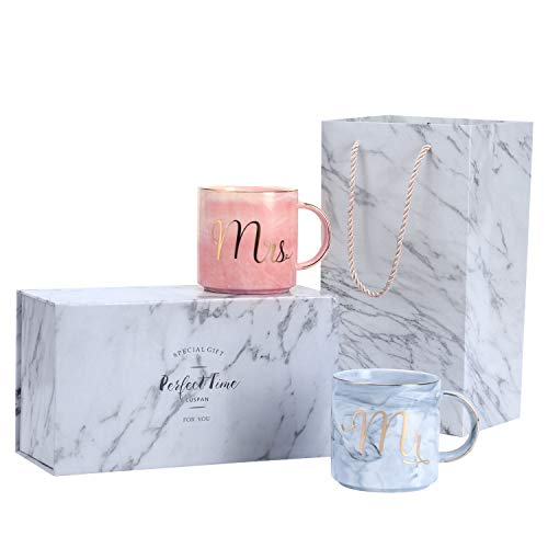 Luspan Engagement Wedding Bridal Shower and anniversary Couple Gifts - Mr and Mrs Couples Coffee Mugs - Ceramic Marble Cups 13 oz - Packaged with Marble Gift Box and Marble Gift Bag by Luspan