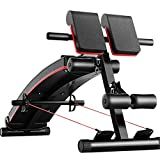 Sit-up board Lxn Black Red 3-in-1 Home Multi-Function Fitness Equipment, Household Light Adjustable, Abdominal Board,Roman Chair,Dumbbell Bench,Maximum Load 440 lbs