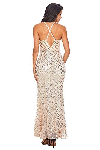 Maxi Rosa Pailletten Gold Kreuzmuster 40 38 Größe Abendkleid wvvtgnrq