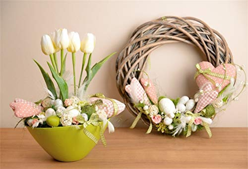 CSFOTO 7x5ft Background Easter Wicker Wreath Tulips On Table Photography Backdrop Easter Eggs Blooming Flower Elegant Decor Spring Garland Holiday Celebrate Photo Studio Props Polyester ()