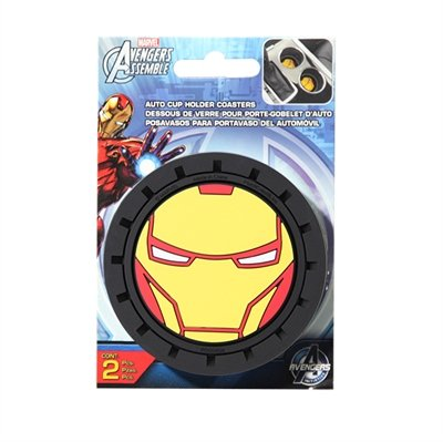 Marvel Iron Man Heavy Duty Rubber Auto Cup Coaster 2 pc