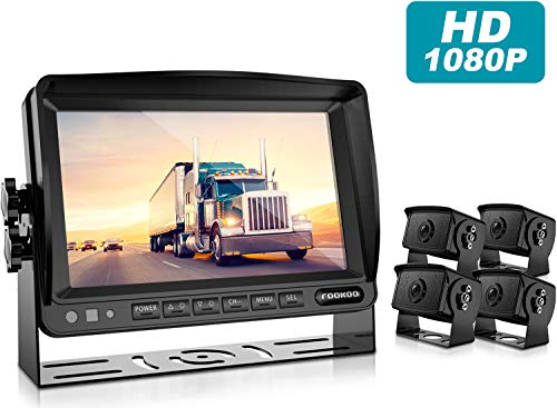 Fookoo HD Backup Camera Syste HD Backup Camera System Kit,1080P 7 Split Screen Monitor IP69 Waterproof Rear View Camera for Bus Truck Trailer Box RV Trailer Tractor 5th Wheel FHD4