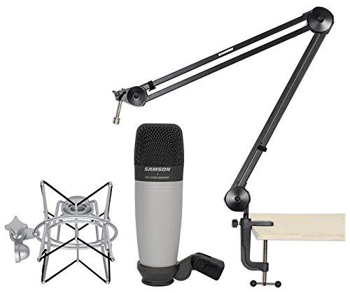 (Samson C01 Studio Condenser Recording Microphone+Boom Arm+Desk Clamp+Shock Mount)