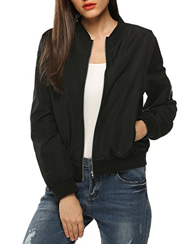 Zeagoo Womens Classic Quilted Jacket Short Bomber Jacket Coat 41MHxtWxriL