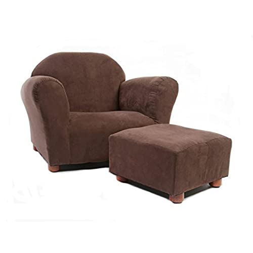KEET Roundy Child Size Chair With Microsuede Ottoman, Brown, Ages 2 5 Years