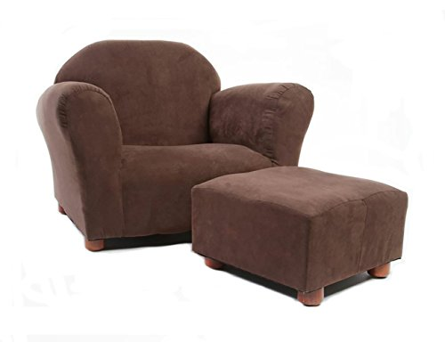 KEET Roundy Child Size Chair with Microsuede Ottoman, Brown, Ages 2-5 years Chair Ottoman Couch