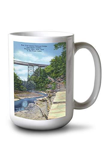 Watkins Glen, NY - State Park View of NY Central RR Bridge, Jacob's Ladder (15oz White Ceramic Mug)