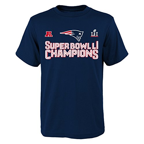 NFL New England Patriots Super Bowl 51 Etched in Stone Short Sleeve Tee, NAVY, Large (7/6X)