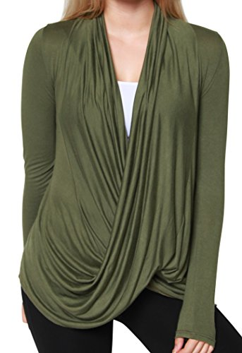 (Free to Live Women's Lightweight Criss Cross Pullover Nursing Cardigan Top (XL, Olive))