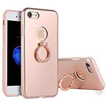 iPhone 7 Plus Case with Finger Ring Holder,360 Degree Rotating Kickstand Function,iPhone 8 Plus Case Metal Matte Rose Gold,Gostyle Slim Fit Hard Shockproof Metallic Case with Magnetic Car Mount.