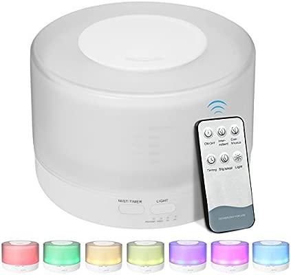 500ml Humidificador Ultrasónico Aromaterapia, EIVOTOR Air Humidificador, Difusor de Aceites Esenciales de Vapor Frío, 7-Color LED 2-Modo Luz y ...