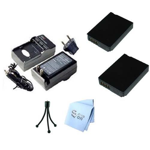 SAVEoN Extended Life Two Panasonic DMW-BCG10 Replacement Battery Packs + AC/DC Rapid Battery Charger Kit + Bonus Mini Tripod + SAVEoN MicroFiber Cleaning Cloth for Panasonic Lumix DMC-ZS7 DMC-ZS10, DMC-ZS8 (Charger Battery Ac Dc Rapid)