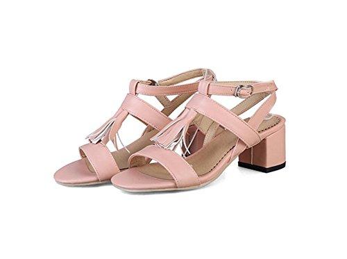 Donna Frangia WEIQI Alto 42 Sandali Parola Una da Tacco 32 AD 6cm Fibbia rosa PU UwwpEqA