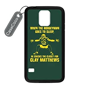 CASECOCO(TM) Favorite Football Team Green Bay Packers Samsung Galaxy S5 Case - Protective Hard Back / Black Rubber Sides Case for Samsung Galaxy S5