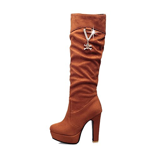 VogueZone009 Damen Ziehen auf Hoher Absatz Rein Hoch-Spitze Stiefel mit Beschlagene Strass Braun