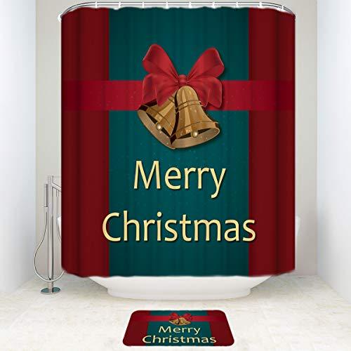 Libaoge Elegant Bathroom Set, Merry Christmas Decoration Maroon Home Holiday Decorative Soap Resistant Polyester Fabric Bathroom Shower Set, 60