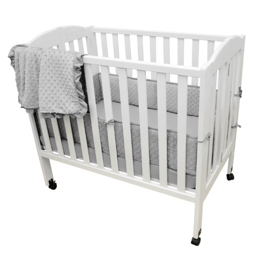 TL Care Heavenly Soft Minky Dot 3 Piece Mini Crib Set, Gray, for Boys and Girls ()