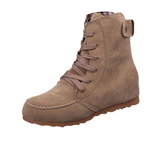 HCFKJ Fashion Ladies Girls Flat Tan Ankle Boots Rubber Snow Motorcycle Short Female Suede Leather Lace-Up Boot for Women Winter Kahki