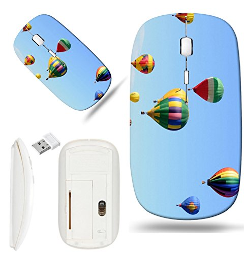 (Luxlady Wireless Mouse White Base Travel 2.4G Wireless Mice with USB Receiver, 1000 DPI for notebook, pc, laptop, mac design IMAGE ID 21138233 Colorful hot air balloons in flight)