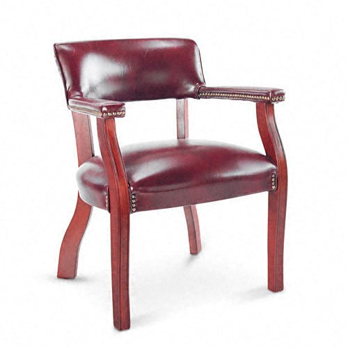 Alera Guest Arm Chair, Mahogany Finish/Oxblood Vinyl (Cushion Bankers Chair)