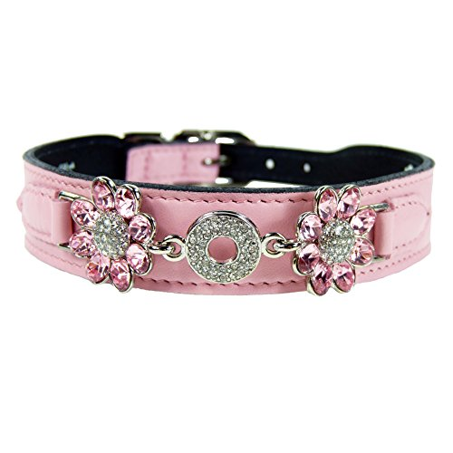 Hartman & Rose Crystal Daisy Dog Collar, 10 to 12-Inch, Sweet Pink
