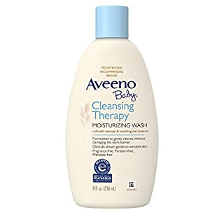 Aveeno Baby Cleansing Therapy Moisturizing Wash with Soothing Natural Colloidal Oatmeal for Sensitive Skin. Hypoallergenic, Paraben- & Phthalate-Free, 8 fl. oz